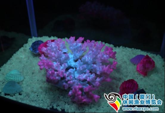 """休闲渔业展-""""暗黑城堡""""中的荧光珊瑚。"""